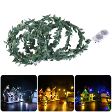 2M Rattan Light LED String Green Leaf Rainbow Warm White Fairy Lighting Holiday Christmas Party Decoration(China)