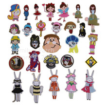 New arrival 10 pcs pink blue angel girl boy embroidered patch iron on Motif Applique Fabric cloth hat shoe bag phone accessory(China)