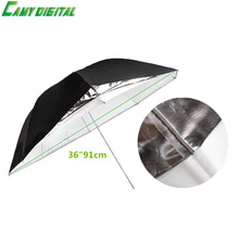 "36""/91cm Studio Photography White Soft Translucent/Black Silver Reflector 2in1 Double-Layer Umbrella For Studio Flash Strobe"