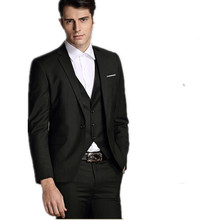 High qulity men's formal suits cultivate one's morality men's wedding suits three-piece pure color mens suits(jacket+pants+vest)