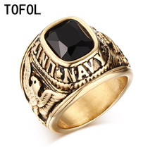 TOFOL Vintage Men Army Rings Gold Color With CZ Zircon Eagle Pattern Stainless Steel Ring Navy For Male Wedding Jewelry Gift(China)