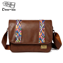 Three-box Brand Fashion Coloured Ribbon Messenger Bag College Leisure Large Capacity Vintage Leather Crossbody Bag Shoulder Bags(China)