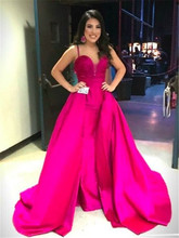 Formal Dresses Vestidos Longos De Festa 2017 Spaghetti Straps Hot Pink Satin Floor Length Evening Dresses Cheap Long Prom Party