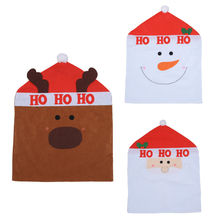 1Pcs Lovely Snowmen Santa Claus Christmas Chair Cover Seat Back Coat Home Party Decoration Xmas