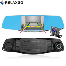 Relaxgo Luxury 5.0 inch rearview mirror car dvr full hd 1080p car camera parking dual lens vehicle video recorder night vision(China)