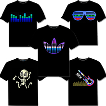 50pcs/Lot Factory wholesale Sound Activated LED Cotton T Shirt Light Up& down Flash Equalizer EL TShirt for Rock Disco Party DJ(China)