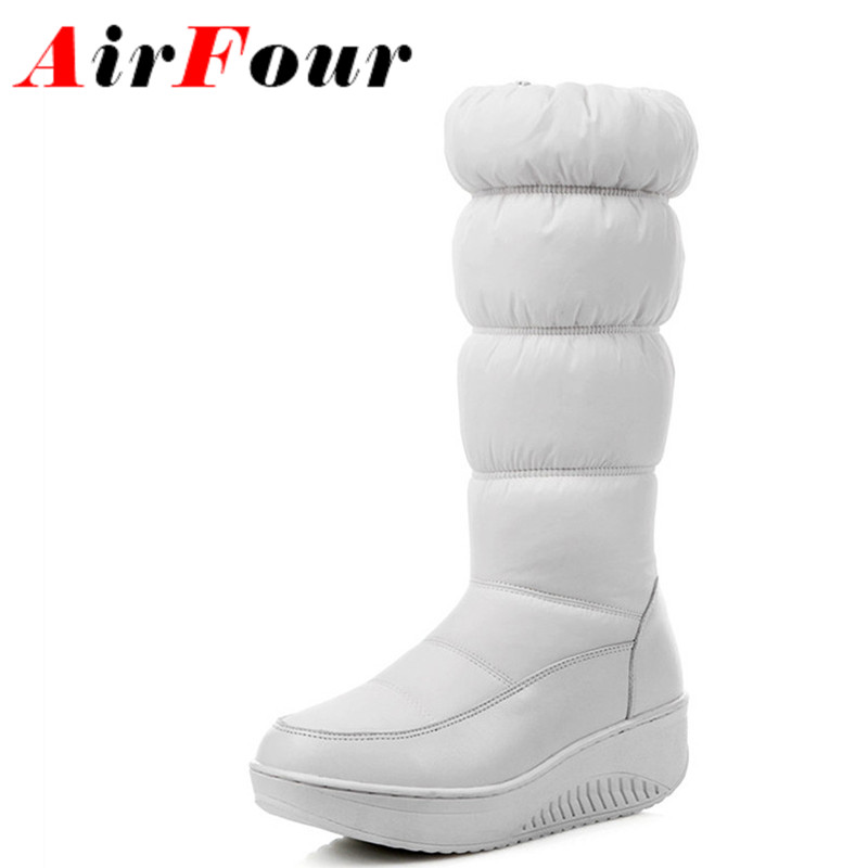 Airfour Women Fashion Boots Warm Winter Boots LargeSize 34-44 Black Flats Shoes Woman Mid-calf Boots Platform Zipper Shoes<br><br>Aliexpress
