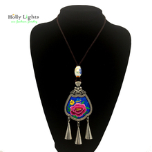 Women maxi long necklace&pendants maxi multicolor embroidery chokers tribal female jewellery big beads tassel collar navy blue