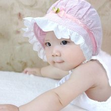 Summer Lace Baby Girls Cotton Flower Stripe Cap Kids Cute Flower Sun Visor Bucket Hat(China)