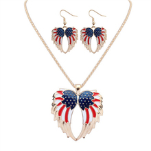 European&American Fashion Pendant Angel Wings Jewelry Gold Plated Multicolor Double Wing Necklace Set America National Flag