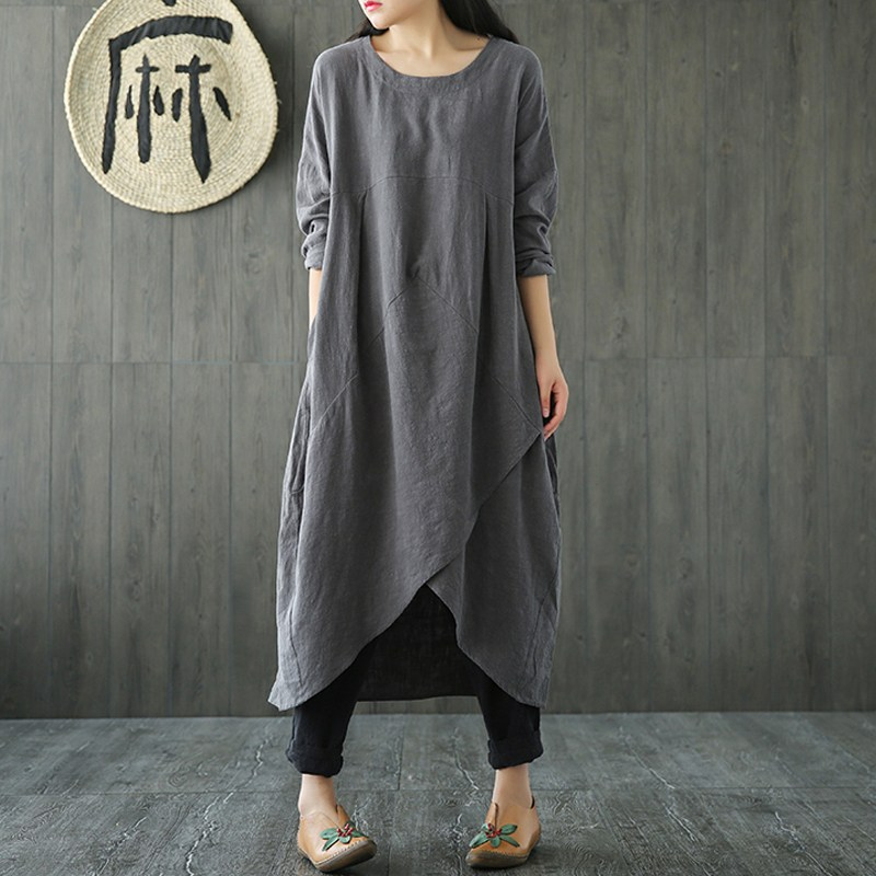 Women Long Sleeve Loose Long DressSolid O-Neck Cotton and Linen Plus Size Spring Fall Tunic