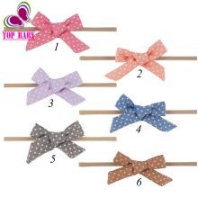 4Pcs/lot Small Fabric Headband With Polka Dots Bows Boys Girls Tie Nylon Headbands For Kid Gift Ideas Hair Accessory