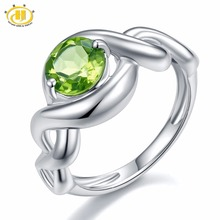 Hutang 1.41Ct Natural Green Peridot Solid 925 Sterling Silver Twist Rings For Womens Fine Gemstone Jewelry Xmans Gift