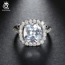 ORSA JEWELS 5 ct Cushion Cut Zircon Engagement Silver Color Rings Big AAA Austrian Cubic Zirconia Stone Ring for Women OR96