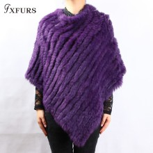 FXFURS spring autumn Genuine Real Knitted Rabbit Fur Poncho Wrap scarves women natural rabbit fur Shawl triangle Cape(China)
