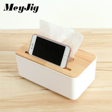 MeyJig Rectangle Tissue Box Cover Organizer Durable Home Car Desk Wood PP Towel Box Napkin Paper Holder Paper Rack Container