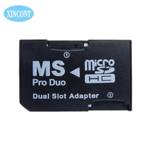 Daul slot PSP memory card adapter for micro card transform Stick Pro Duo Memory Cards for Sony PSP Tablet Camera free shipping