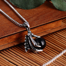 Men Necklace Jewelry Dragon Claw With Black Onyx Stone Ball Long Chain Necklace Titanium Steel Personality Jewelty Necklaces y3