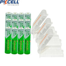 12 Pieces PKCELL Cycles1200times Pre-charged NIMH 1.2V 850mAh AAA Rechargeable Battery and 3Pcs Battery Holder BOX
