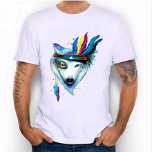 2018 new summer fashio men's short sleeve colorful Wolf tattoo print T-Shirt high quality casual man Tees Soft fabric male Tops(China)