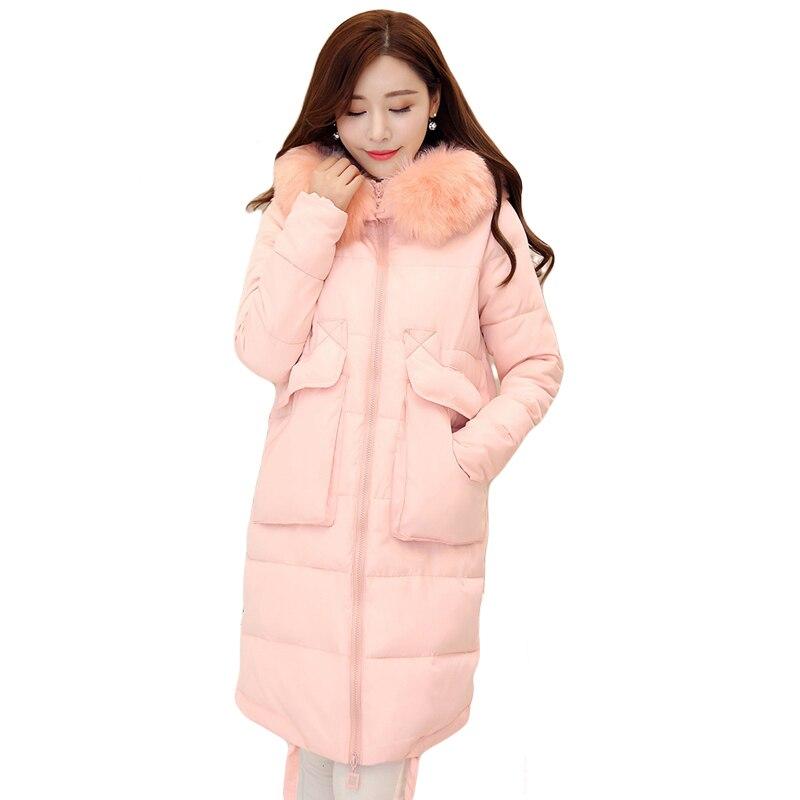 High Quality 2017 New Winter Coat Women Jacket Faux Fur Collar Hooded Womens Long Down Cotton Jacket Coat Parka Casaco CM1298Îäåæäà è àêñåññóàðû<br><br>