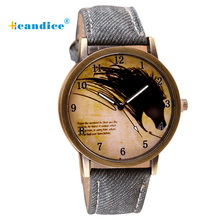 Newly Design Vintage Brief Painting Horse Watch Quartz Wrist Watches For Drop Ship