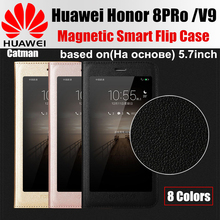 huawei honor 8 pro case original catman brand design luxury PU leather magnetic smart flip cover for huawei honor 8pro V9 case(China)