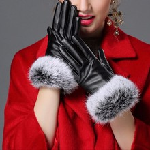 1 PC Women Touch Screen Black Leather Gloves Winter Autumn Warm Rabbit Fur Mittens(China)
