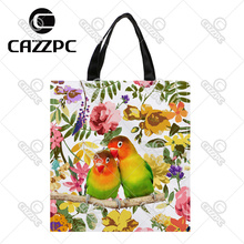 Lovebirds bird and Watercolor Floral Print Custom individual waterproof Nylon Fabric shopping bag gift bag Pack of 2