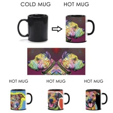 Lovely Pet Dog Pitbull Mug Unique Design Magic Mug Change Color Tea Coffee Hot Cold Water Cool Heat Changing Color Ceramic Mugs