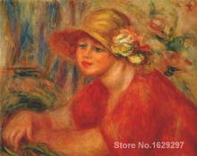 discount canvas paintings art by Pierre Auguste Renoir Woman in a hat with flowers Hand painted High quality(China)