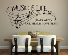 Romantic Note Music Is Life home decal wall sticker /removable wedding decoration living room decor/ 3d wallpaper vinyl
