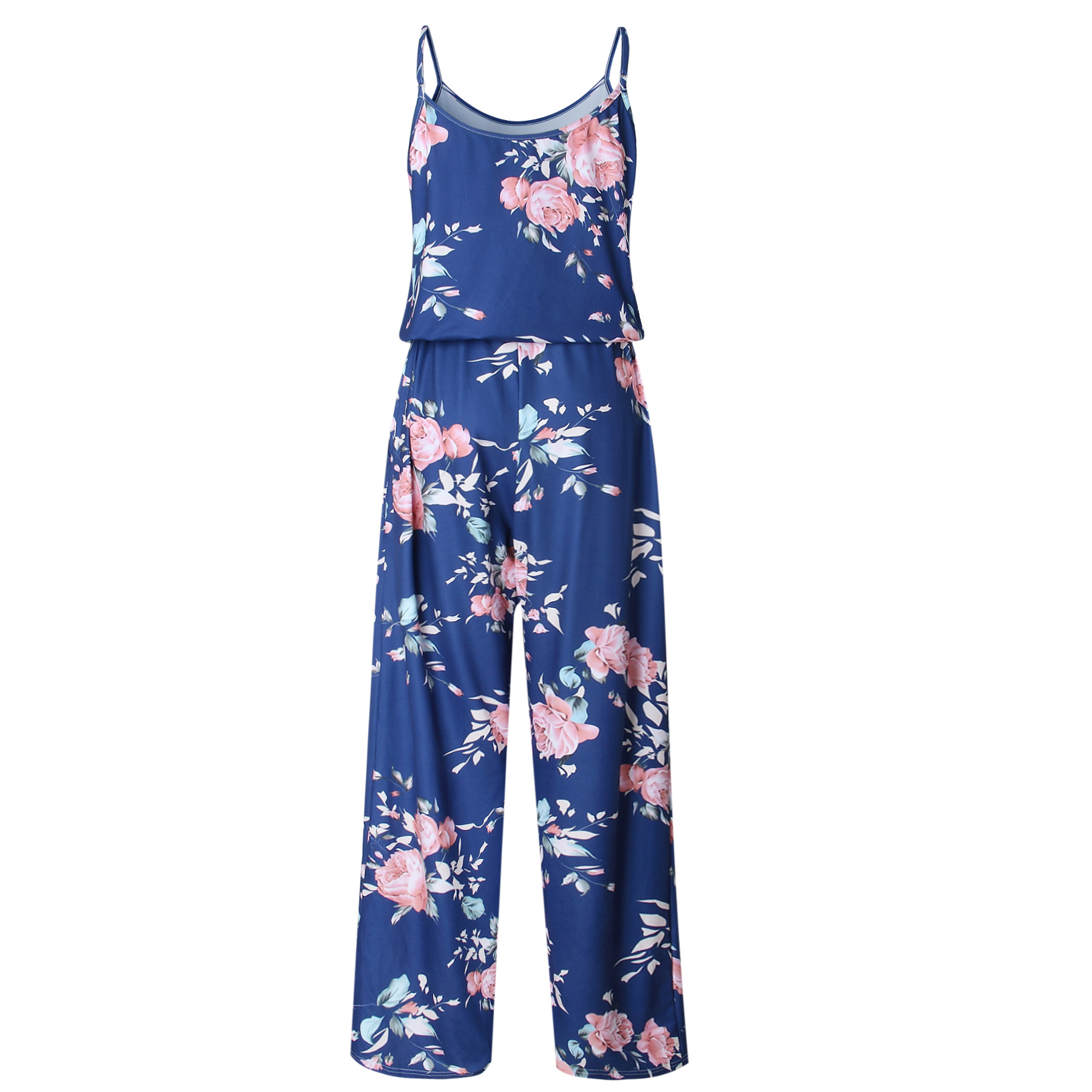 Spaghetti Strap Jumpsuit Women 2018 Summer Long Pants Floral Print Rompers Beach Casual Jumpsuits Sleeveless Sashes Playsuits 23