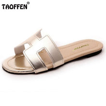 TAOFFEN Lady Flat Sandals Female Shoes Women Gladiator Sandals Slippers Shoes Flip Flops Ladies Footwear Size 35-40 W0142(China)