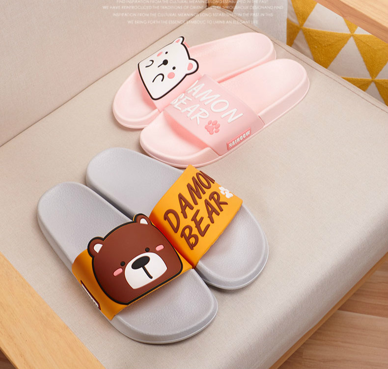 Cartoon Women Summer Slippers Cute Damon Bear Soft Sole Slides Home Slippers Indoor & Outdoor Sandals Women Shoes Flip Flops 7