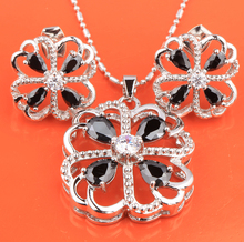 Fascinating Four Leaf Clover Black Onyx Fashion Silver Nacklace Jewelry Sets Earrings Pendant Free Shipping S8348