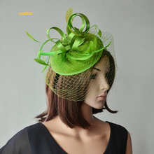 NEW Khaki green Ladies bridal fascinator Felt Fascinator with Satin Loops and Feathers for wedding races kentucky derby.