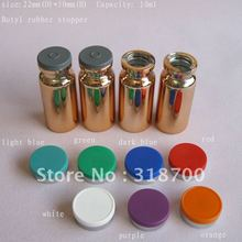 10ml UV gold glass vial with flip off cap,sample vial,essence oil glass bottle(China)