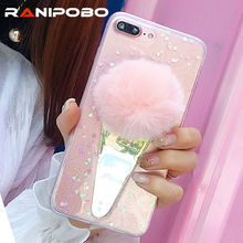 Buy Luxury Bling Transparent glitter Powder Phone Case iphone 7 7Plus 6 6S Plus Colorful Fur Ball Soft TPU Clear back cover for $2.49 in AliExpress store