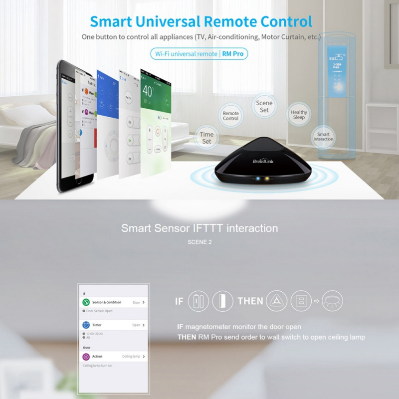Broadlink Brand RM Pro Smart home Automation WIFI+IR+RF Universal Intelligent Remote Control Switch for iphone IOS Android