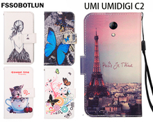 FSSOBOTLUN,For UMI UMIDIGI C2 Phone Case Fashion Painting Patterns PU Leather Wallet Stand Flip Cover 2 Card Slots
