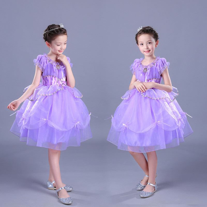Summer Sleeveless Girl Pleated Dress Purple Flower Cartoon Layer Princess Sofia Hollow Party Girl Tutu Dress 10 Years<br>