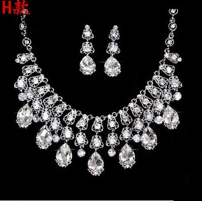 High Quality Silver Luxury Oversize Crystal Wedding Jewelry Sets Hollow-out Flower Necklace&Earrings Set For Woman (10)