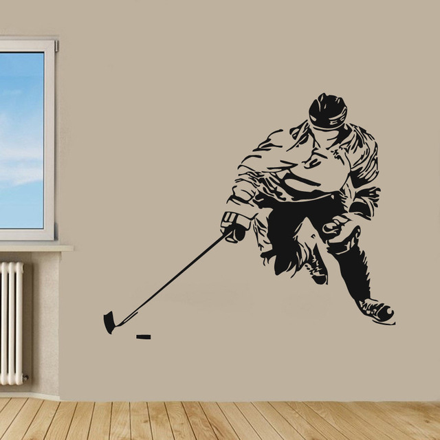 New arrival Ice Hockey Sticker Winter Sports Decal Muurstickers Posters Vinyl Wall Decals home Decor Mural Hockey Sticker(China)
