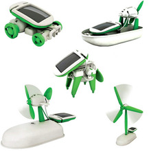 Hot! Solar Power 6 in 1 Toy Kit DIY Educational Robot Car Boat Dog Fan Plane Puppy toys New Sale