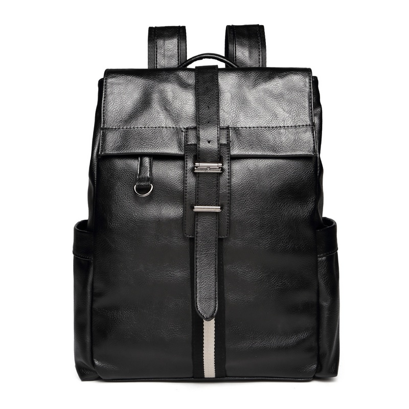 Mens Patent Leather Casual Backpack Men Black Travel Bags Western College Mochila Double Rucksack Male High Quality Laptop Bag<br>