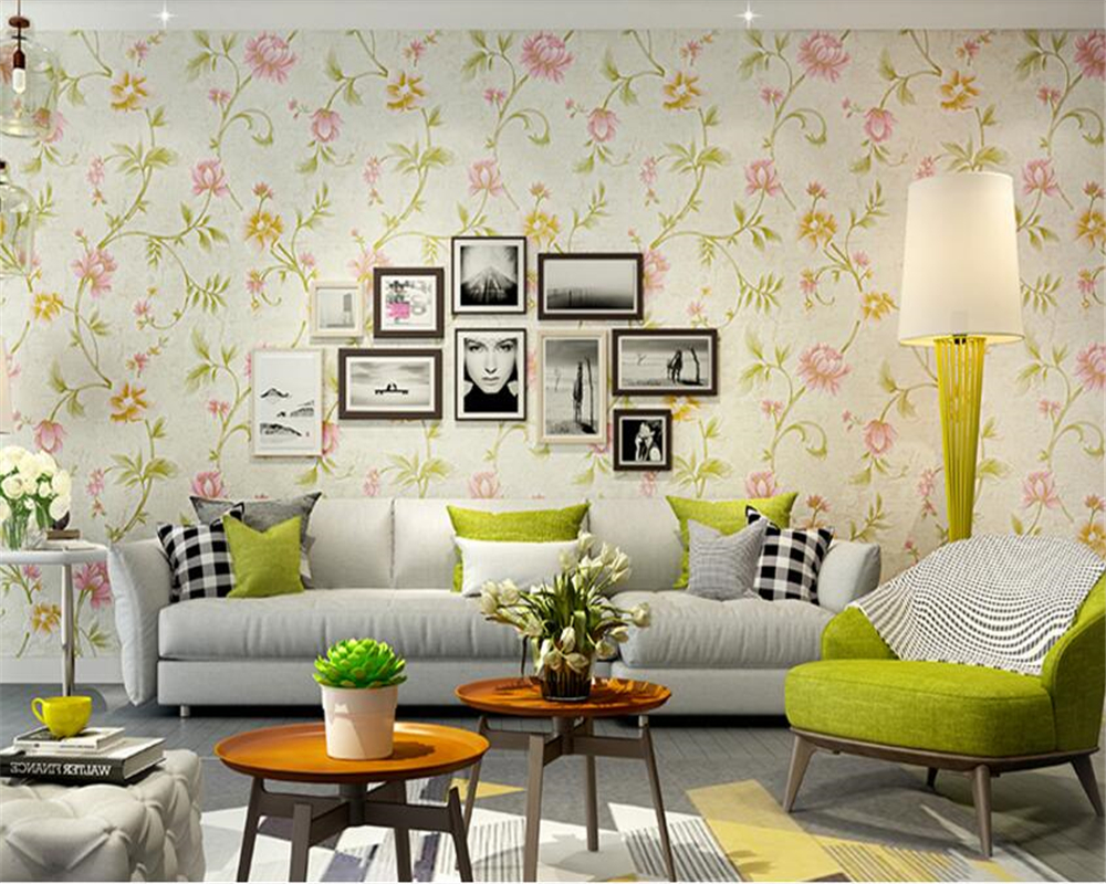 beibehang Fresh American garden flowers nonwoven 3d wallpaper living room background three-dimensional papel de parede wallpaper<br>