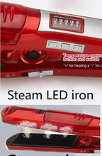 Free Shipping EU/US 110-240V Ceramic Electronic Hair Straighteners Steam styler Iron Dry Straightening Irons Red(China)