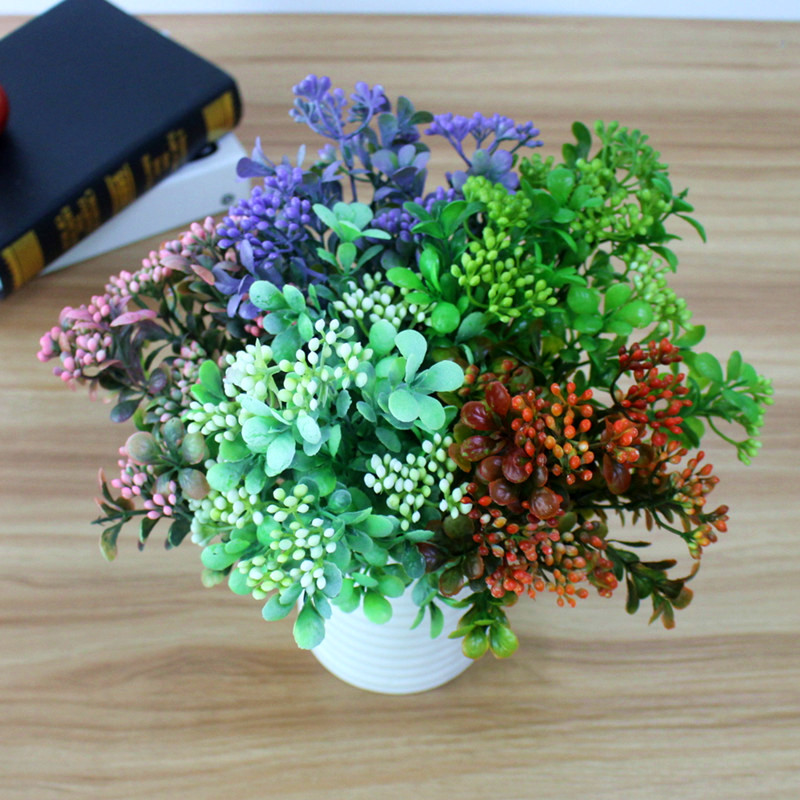 Artificial Plastic Branch Flower Wedding Home Decor Garden Artificial Plants Fake Plastic Milan Grass Foliage Plant Tree (11)