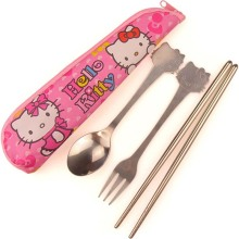 Free Shipping 2015 Hot Sale Stainless Steel Travel Cutlery Hello Kitty Portable Cutlery Dinnerware Kit Ceramic Spoon Fork Kits